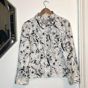 Chicos Cotton Circular Graphic Jean Jacket Size 1